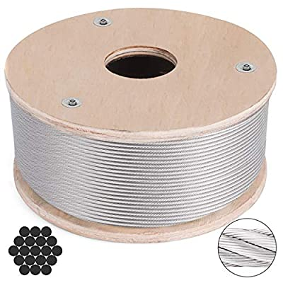 BestEquip 316 Stainless Steel Cable Stainless Steel Wire Rope 3/16 Inch 1x19 Steel Cable for Railing Decking DIY Balustrade