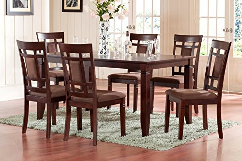 Dining Room Furniture (The Room Style 7 piece Cherry Finish Solid Wood Dining Table)