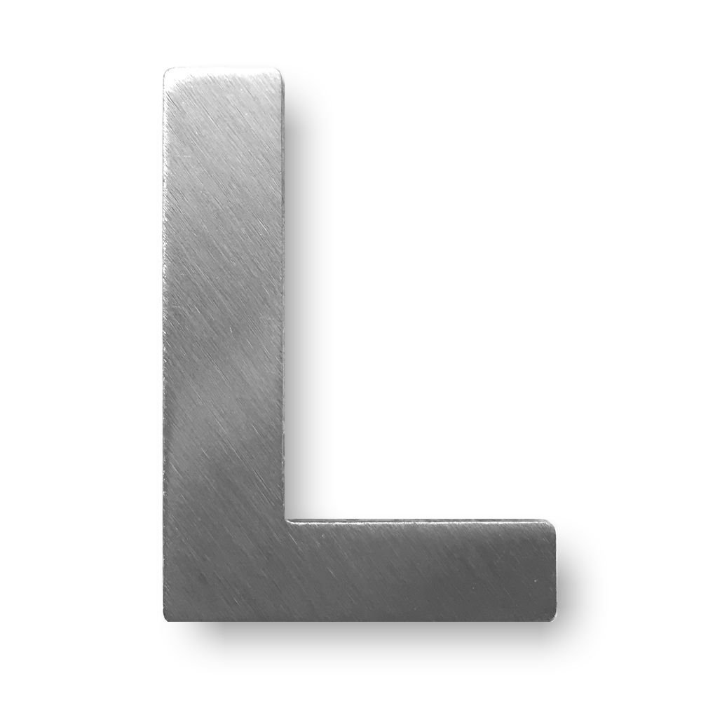 Metal letter L Brushed Stainless Steel with 3  M Adhesive  –   4  cm Hö he dieHolding