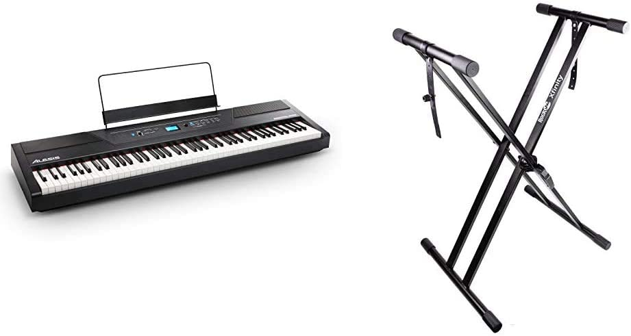 Double-X Alesis Recital Pro Infinitely Adjustable Piano Keyboard Stand with Locking Straps Digital Piano//Keyboard /& RockJam Xfinity Heavy-Duty Pre-Assembled