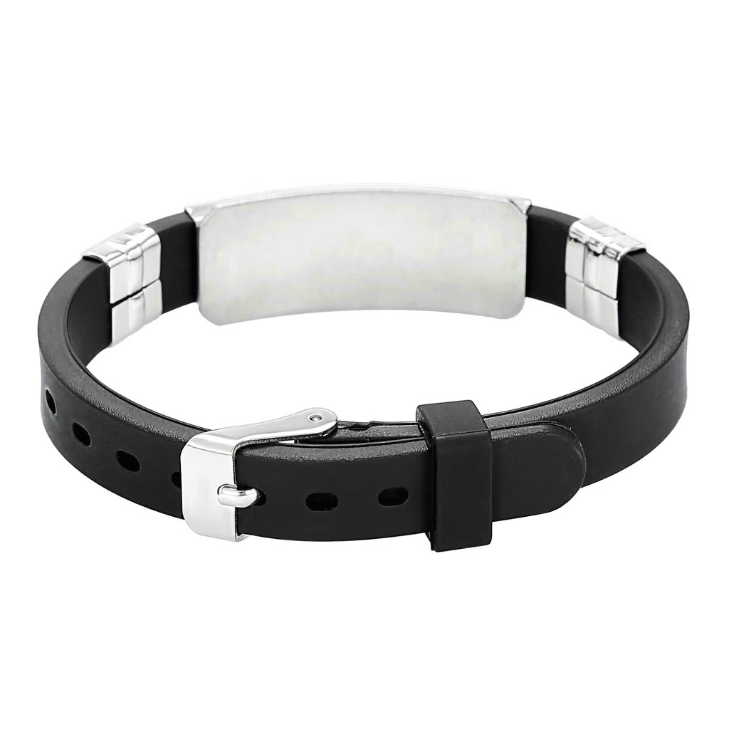 MoAndy Womens Mens Stainless Steel Snake Pattern Religious Black Silicone Silver Adjustable