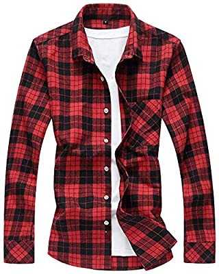 HENGAO Men's Long Sleeves Retro Vintage Checker Plaids Dress Shirt