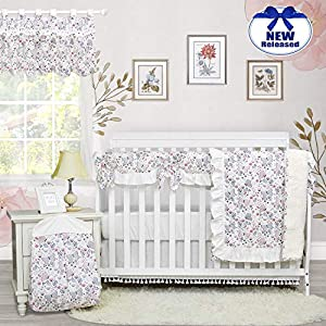 Brandream Butterfly Crib Bedding Sets Sweet Pink Floral Nursery Bedding for Girls with Ruffle Crib Rail Cover 100% Cotton, 6 Piece Fashion Baby Gift