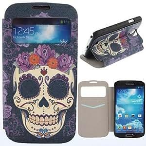 MOFY-Patr—n Roses Skulls Clamshell PU Leather Case cuerpo completo con ranura para tarjeta para Samsung i9500 S4