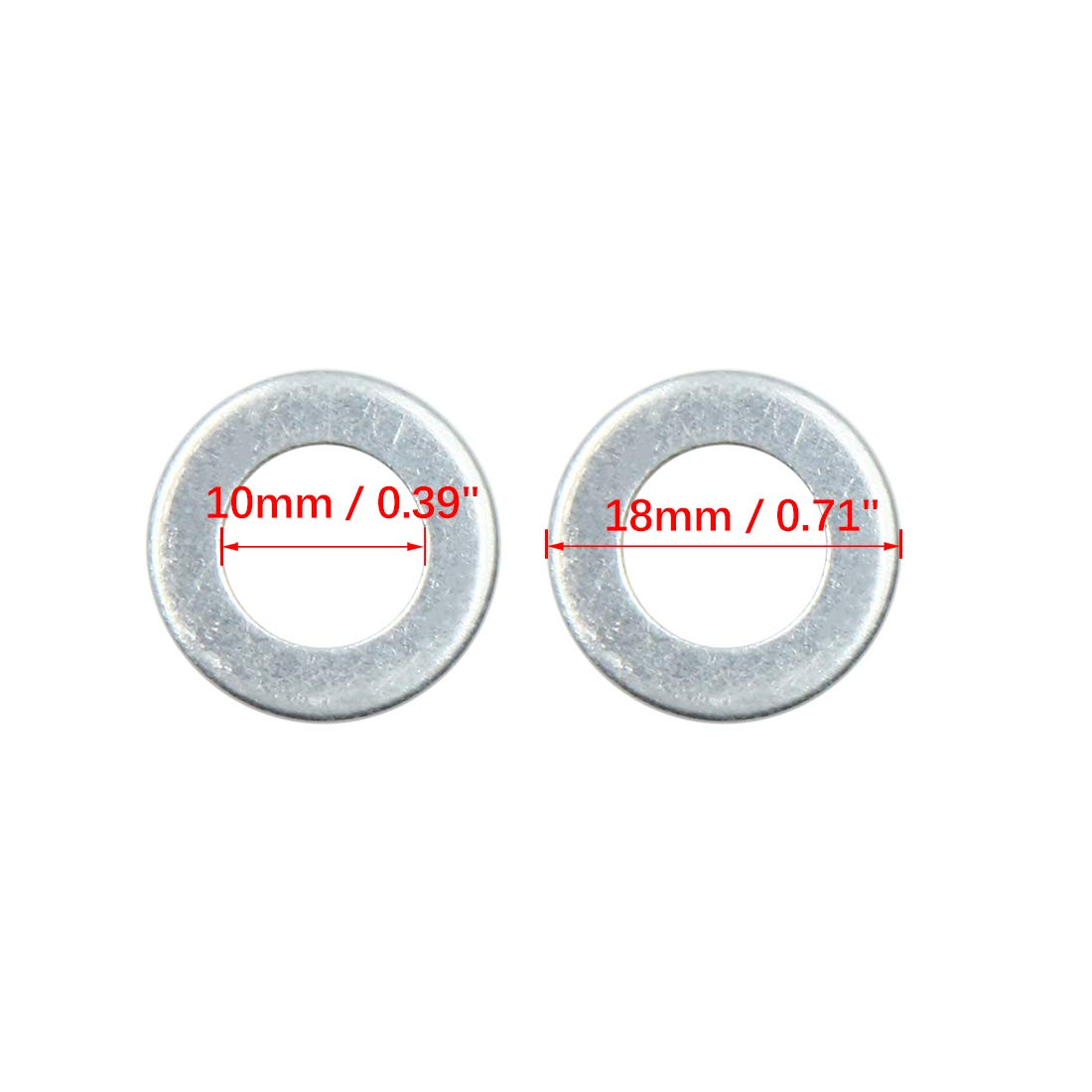for Car 18mm OD X AUTOHAUX 20pcs Engine Oil Crush Washers Drain Plug Gaskets 10mm ID