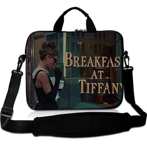 Price comparison product image Hot Sale 15 Inch Adjust Shoulder Laptop Carrying Bag With Breakfast At Tiffanys Holly Golightly Neoprene Laptop Sleeve for 15 15.6 Inch Laptop Bag(Twin Sides)