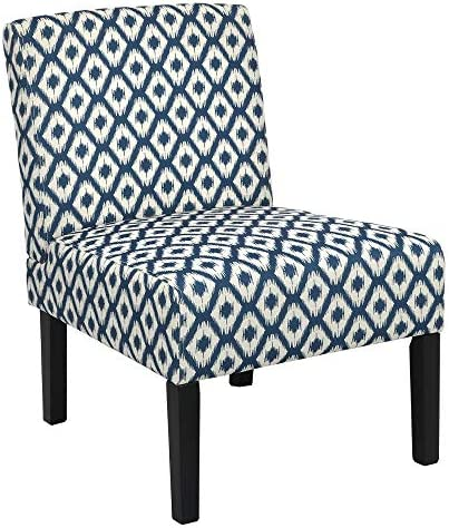 Homegear Home Furniture Accent Armless Chair – Contemporary Designs – Blue Diamonds