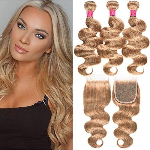 Fashion Lady Peruvian Virgin Human Hair Bundles with Closure #27 Honey Blonde Body Wave Bundles with Closure Human Hair Bundles with 4x4 Free Part Lace Closure (20