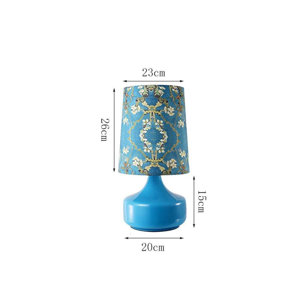 AACJJ Tischlampe - Tischlampe Schlafzimmer Nachttischlampe Modern Einfache Mode Persönlichkeit Warmes Wohnzimmer Glasleinen Druck Dekorative Lichter, Hotelzimmer Beleuchtung