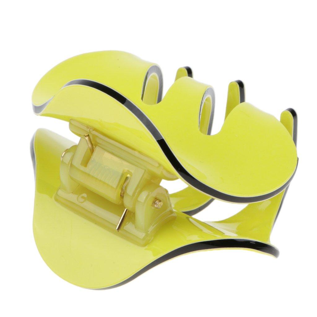 D DOLITY Pinza de Pelo de Mariposa de Mujer Abrazadera de Sujeción con Peinado Herramientas de Maquillaje Peluquería de Salón - Amarillo