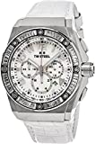 TW Steel CEO Tech Swarovski Crystal Stainless Steel Watch - Mother-of-Pearl Dial Date 24-hour TW Steel Watch Womens - White Leather Band 44mm Chronograph Watch CE4015