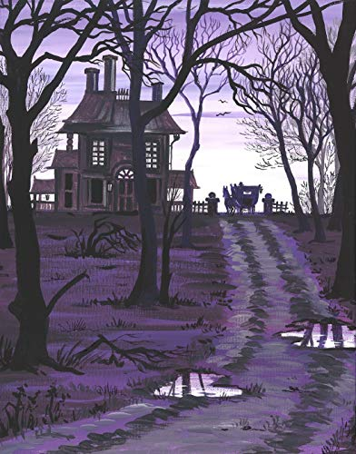11x14 inch print of ORIGINAL painting RYTA HALLOWEEN LANDSCAPE HAUNTED HOUSE SCARY SPOOKY SHERLOCK HOLMES ILLUSTRATION THE HOUND OF BASKERVILLES CARRIAGE HORSE DRAWN RAINY NIGHT AUTUMN FALL -