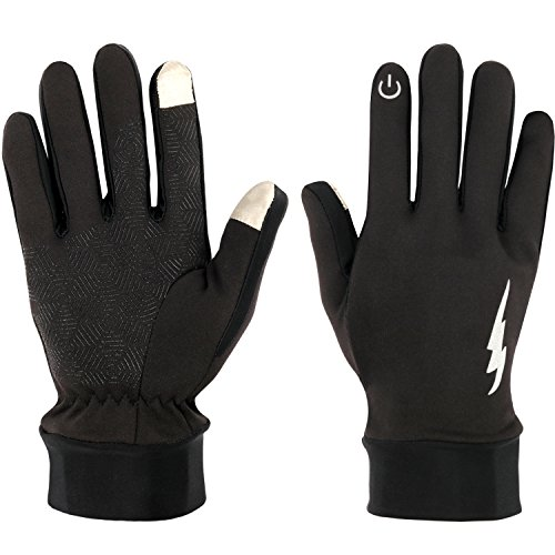 Fenvella Touch Screen Gloves - Anti-ski & Warm Gloves for Spring,Autumn and Winter Waterproof and Windproof,Perfect for Man and Women Running Skiing Cycling Texting Black(Middle)