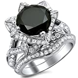 Smjewels 3.60 Ct Black Round Sim.Diamond Lotus Flower Engagement Ring Set In 14K White Gold Fn