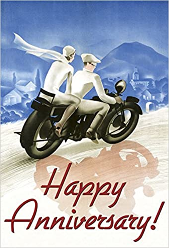 motorcycle anniversary images  Happy Anniversary - Couple on Motorcyle Greeting Card: Laughing ...