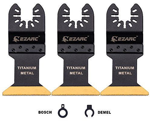 EZARC Titanium Oscillating Multitool Blade for Wood, Metal and Hard Material, 3-Pack - Non Chipboard