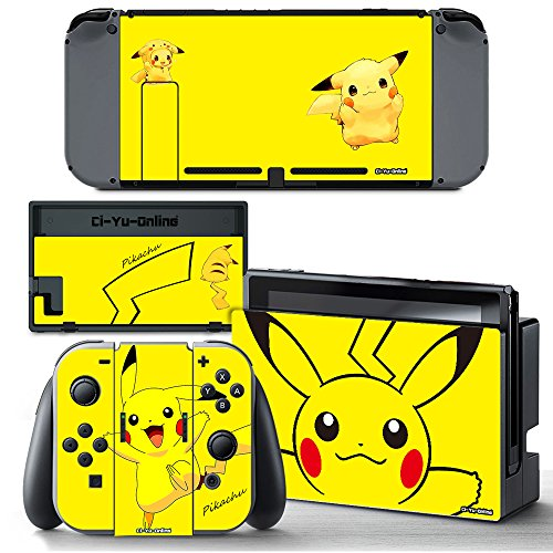 Ci-Yu-Online VINYL SKIN [NS] Pikachu Yellow #1 STICKER DECAL COVER for Nintendo Switch Console and Joy-Con Controllers