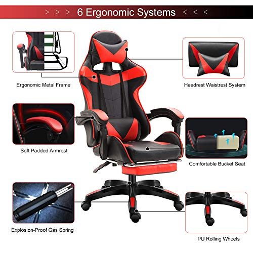 Computer Gaming Chair Bucket Swivel Adjustable Recliner Office Seat Footrest Red