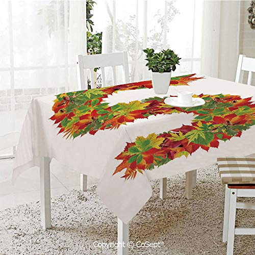 Water Resistant Tablecloth,Vivid Seasonal Growth Themed Capital S with Bunch of Acorns Language School Theme,Washable Tablecloth Dinner Picnic Table Cloth Home Decoration(60.23