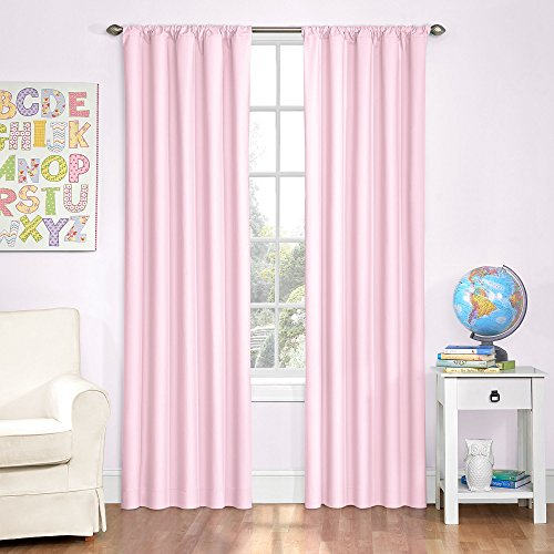 Eclipse Kids 13303042X084PNK Microfiber 42-Inch by 84-Inch Room Darkening Single Window Curtain Panel, Pink
