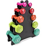 Crown Sporting Goods 5 Pairs of Vinyl Exercise Dumbbells - Fitness Sculpting Hand Weights with Mobile Storage Rack