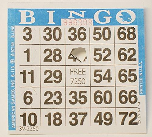 Pushout Bingo Cards (500 ct)--SELECT COLOR BELOW (BLUE)