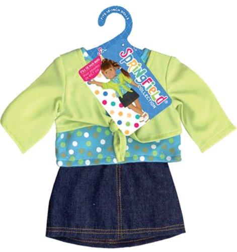 Fiber Craft Springfield Collection Shrug/Skirt for Doll, Lime/Denim, Baby & Kids Zone