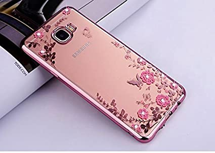 cheaper bea2a 85b97 Loxxo® Samsung J4 Plus Back Cover Shockproof Silicone Soft TPU Transparent  Auora Flower Case with Sparkle for Samsung J4 Plus (Rose Gold)