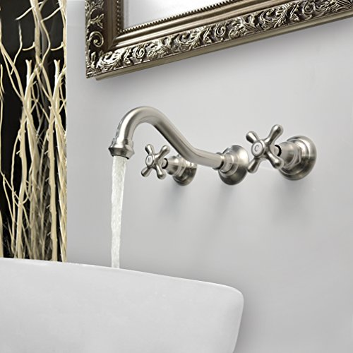HAOXIN Wall Mounted Widespread Basin Mixer Tap Two handles Three holes Solid Brass Bathroom Sink Faucet Brushed Nickel (Vintage Iii Widespread Faucet)
