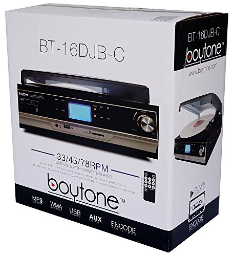 Boytone BT-16DJB-C 3-speed Stereo Turntable with 2 Built in Speakers Digital LCD Display + Supports USB/SD/AUX+ Cassette/MP3 & WMA Playback /Recorder & Headphone Jack + Remote Control by Boytone (Image #5)