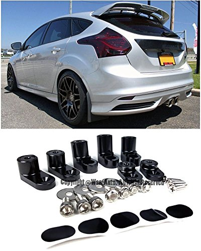 Price comparison product image EOS Rear Wing Spoiler Riser Extender Lift Kit Black - For Ford Focus ST Hatchback 13-Up 2013 2014 2015 2016 2017