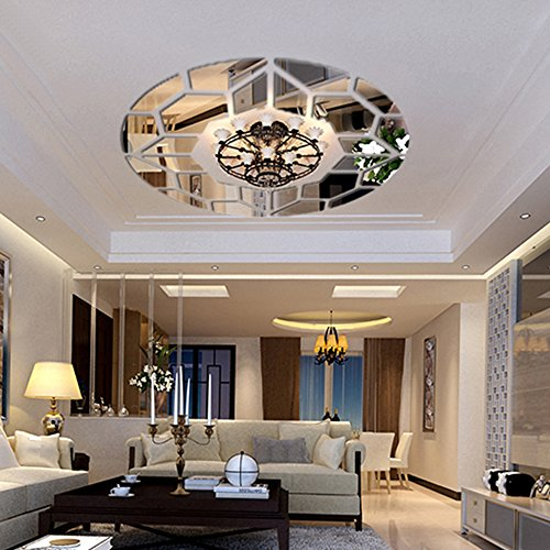 DIY Mirror Effect Ceiling Lights Decorative Wall Stickers Living Room Restaurant Bedroom Corridor Decorative Wall Decor Art Mural Decal Removable - Decorative Wall Murals