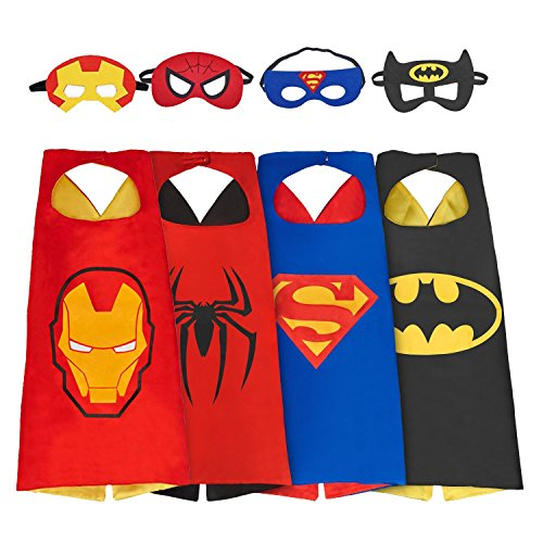 [NAGNACA Comics Cartoon Hero Dress Up 4Pcs Satin Capes with Felt Masks Costume] (Womens Material Pop Star Costumes)