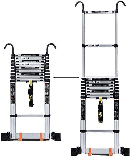 WGOOGA Escalera Larga 6 m 19.7 pies Escalera telescópica de Aluminio con Ruedas y Ganchos Escalera de extensión telescópica Antideslizante Mat for ingeniería de Escape Loft (Size : 6m/19.7ft): Amazon.es: Hogar
