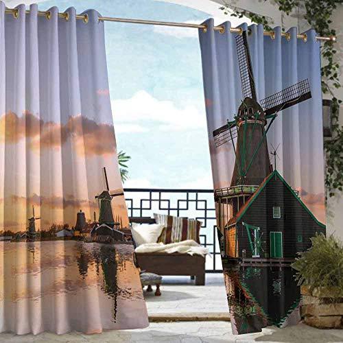 VIVIDX Sliding Door Curtain,Windmill Decor,for Porch&Beach&Patio,W84x108L Multicolor