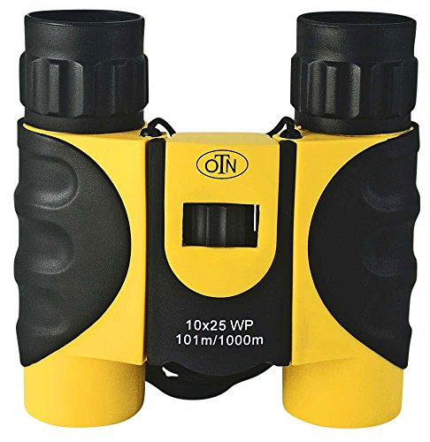 OutNowTech Compact Waterproof Binoculars for Adults and Kids - 10x25 BAK4 Roof Prisms - Ideal for Hiking Camping and Outdoor Events - Robust Rubberised Casing - Neck Strap - Carry Case with Belt Loop