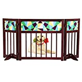 okdeals Foldable,Freestanding Wooden Pet Gate,3 Panel Folding Wooden Fence,Indoor Barrier for Small Dogs/Cats - 22 Inch, Dark Brown, Step Over Doorway Fence