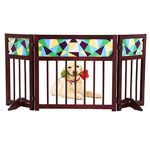 Free Standing Foldable Wooden Indoor Gate,3 Panel Folding Wood Fence,Indoor Barrier for Baby Small Dogs/Cats - 22 Inch, Dark Brown, Step Over Doorway Fence (Second-Generation)