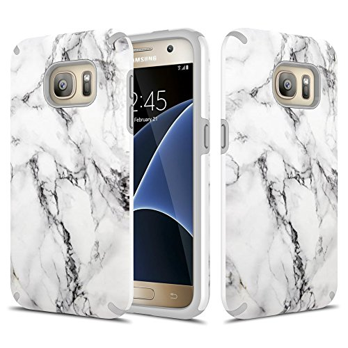 Galaxy S7 Case, TownShop Marble Design Hard Rubber Impact Dual Layer Shockproof Silicone Bumper Case for Samsung Galaxy S7