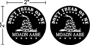 """Molon Labe (COME AND TAKE THEM!) 2 pack, FBA, Prime, Don't Tread on Me, gadsden, Patriotic Black Hat Hardhat Motorcycle Helmet Decal Sticker Placard 2""""W X 2""""H - Sold in Package of 2"""