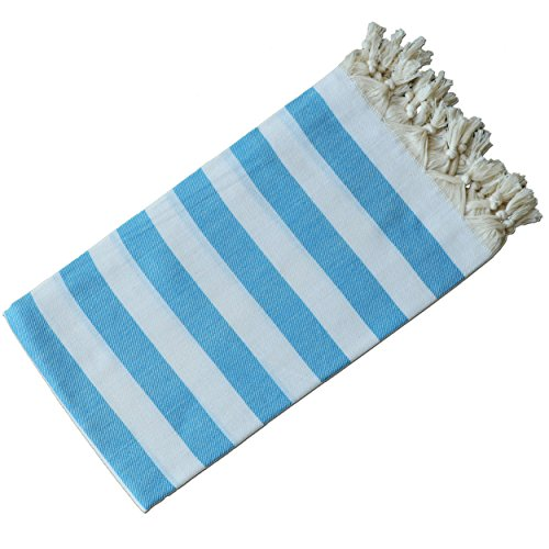 Dandelion - Stripes Pattern - Naturally-Dyed Cotton Turkish Towel Peshtemal - 71x39 Inches - White & Ocean Blue - Ocean Beach Stripe