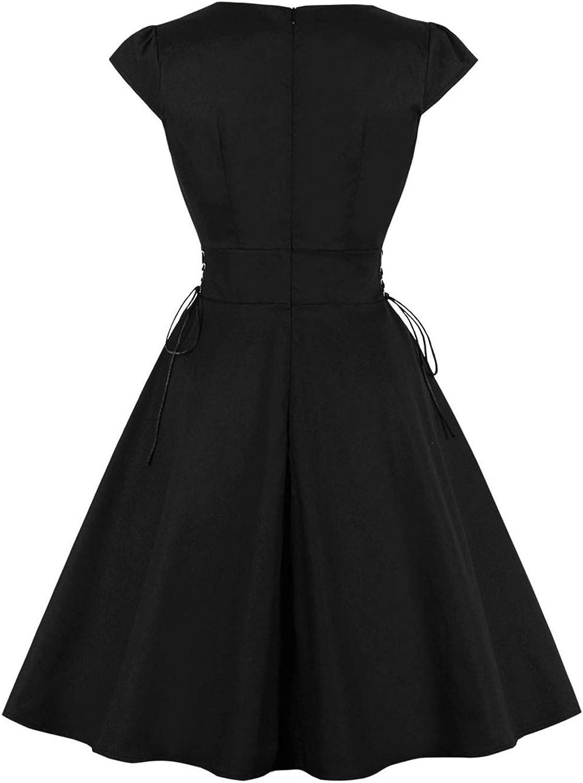 MisShow Damen Elegant 16er Jahre Retro Petticoat Kleider Festlich  Rockabilly Kleider