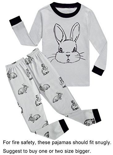 Choco Moon Baby Boys Girls Rabbit Easter Snug-Fit Pajamas 100% Cotton Grey PJS Clothes Infant Kid 18-24 (Rabbit Moon Baby Girl)