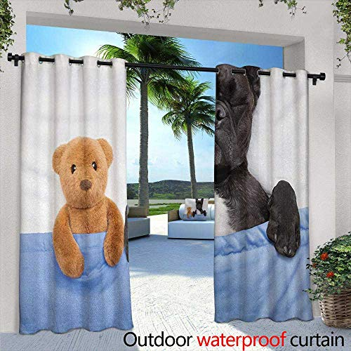 Outdoor Window Curtains Animal French Bulldog Sleeping with Teddy Bear in Cozy Bed Best Friends Fun Dreams Image for Porch&Beach&Patio 84