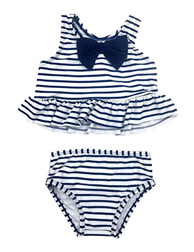 (ACKKIA Baby Toddler Girls Stripe Ruffle Two Piece Tankini Set Racerback Swimsuit Navy Blue Color Size 24M (Fits 18-24 Months))