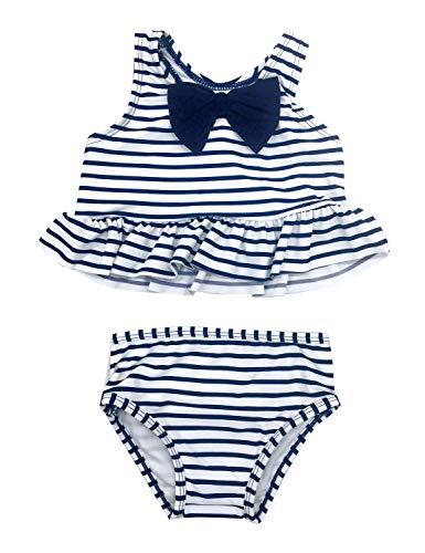 Toddler Piece 2 Tankini Girls (ACKKIA Baby Toddler Girls Stripe Ruffle Two Piece Tankini Set Racerback Swimsuit Navy Blue Color Size 24M (Fits 18-24 Months))