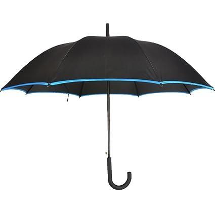Paraguas a Prueba de Viento Fuerte Negro Negocios Paraguas a Prueba de Viento Hombres Mango Recto