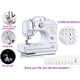 Sewing Machine, Mini Portable Sew 2-Speed Sewing Machine with 12 Stitches + Light 505(Purple)