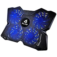 KLIM Wind, Base de refrigeración para ordenador portátil, La más potente, Acción de enfriamiento rápido, Base refrigerante Gaming de 4 ventiladores con soporte (negro y azul)