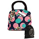 Floral Pattern Lunch Bag Tote with Zipper and Handle (Truquoise / Pink)